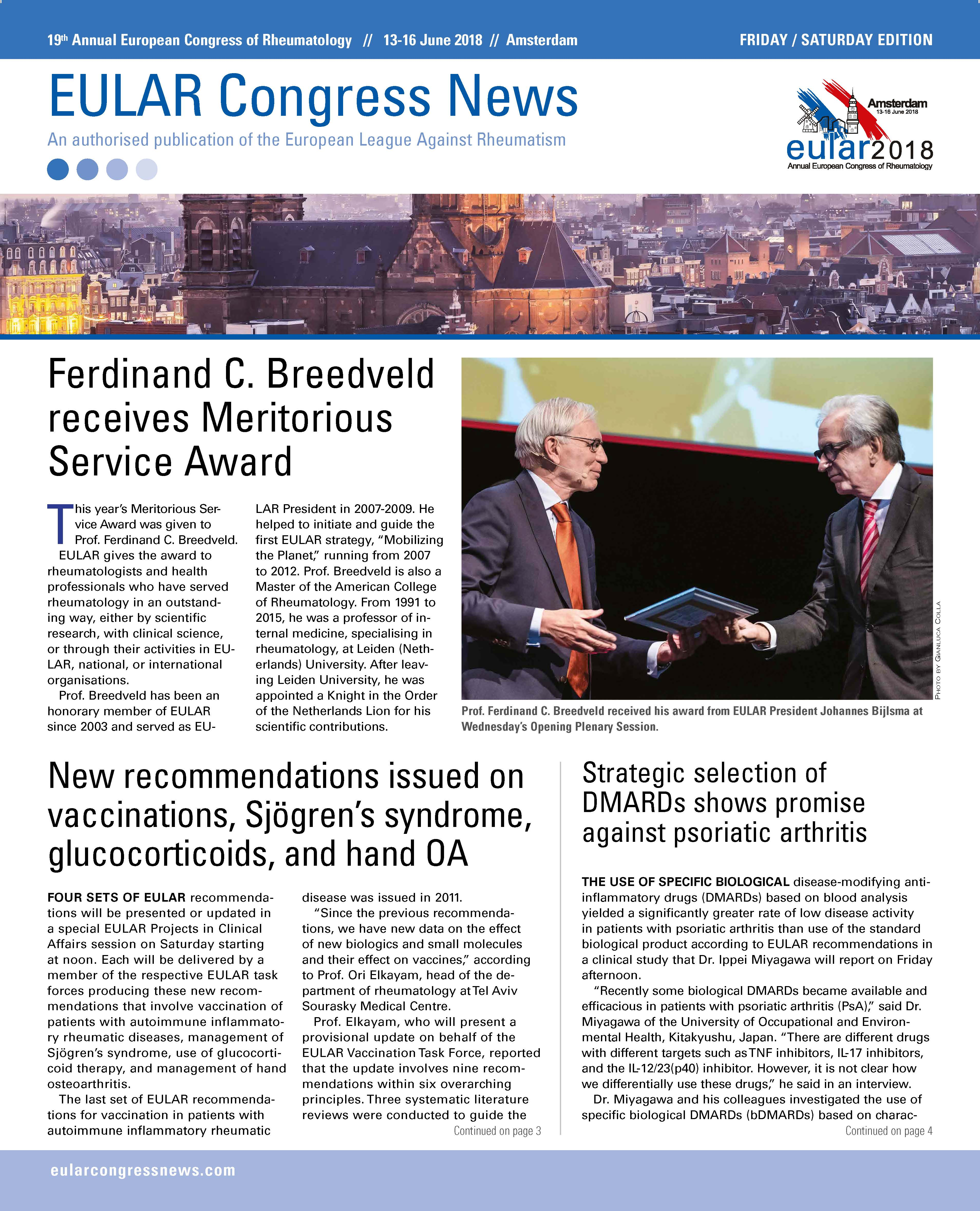 EULAR Congress News: Friday/Saturday - 15/16 June Edition