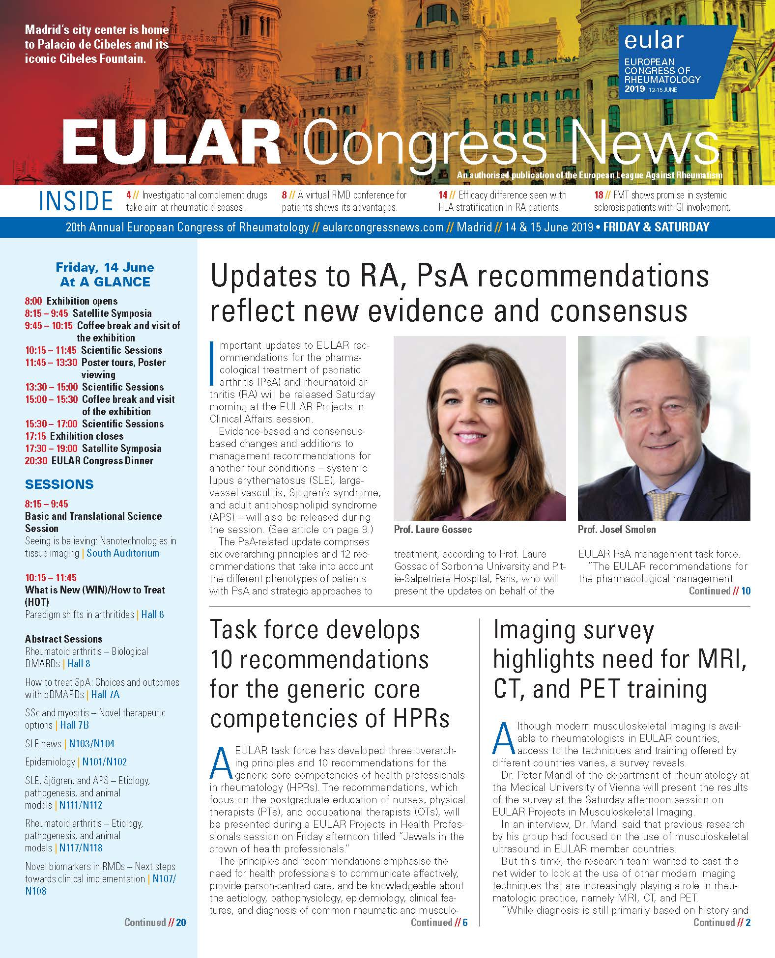 EULAR Congress News: Friday/Saturday - 14/15 June Edition