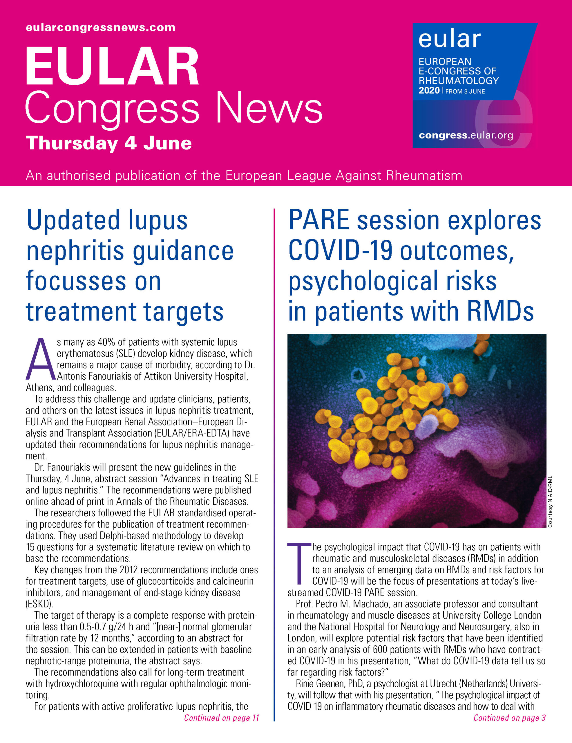 EULAR Congress News: Thursday - 4 June Edition